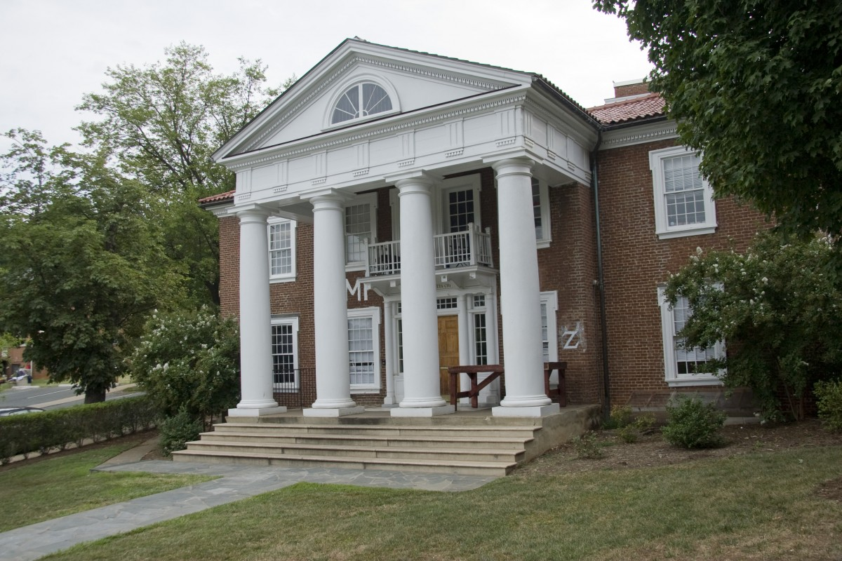 Brick fraternity home with white pillars