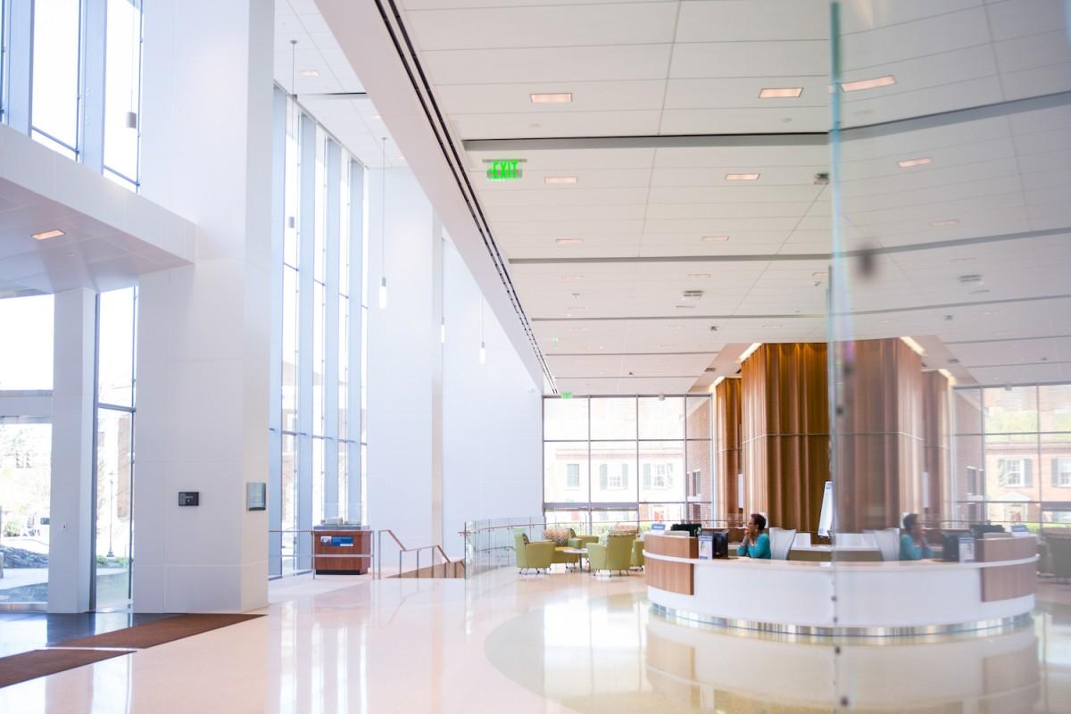 Interior of a brightly lit hospital lobby