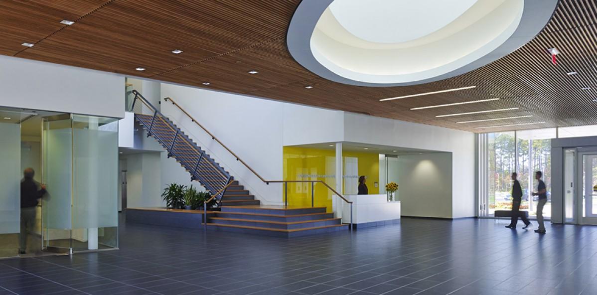 Modern, bright building lobby